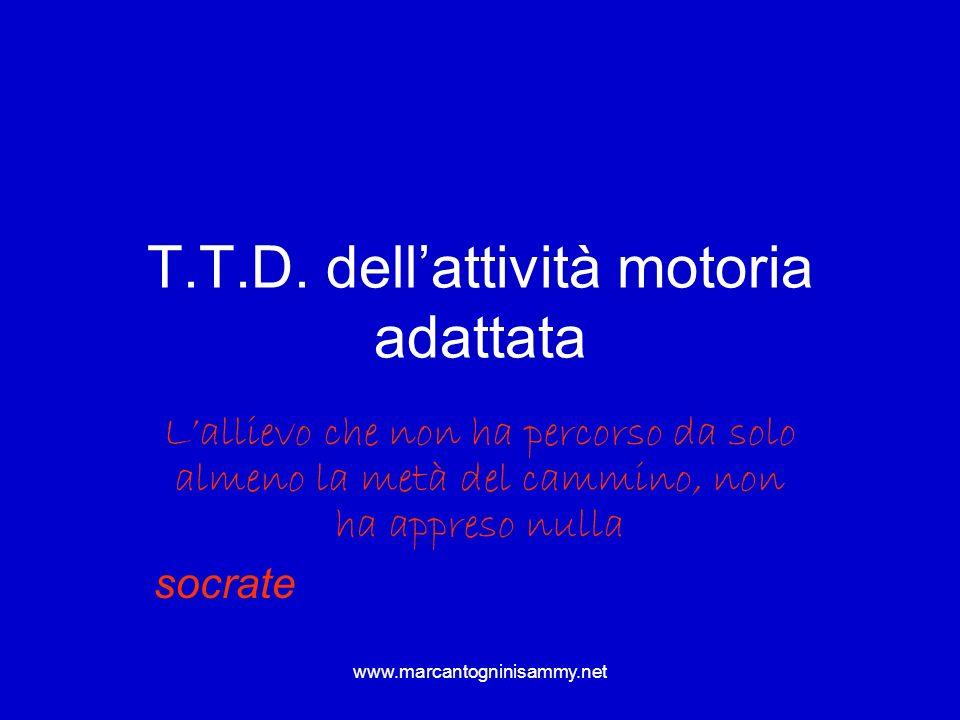 www.marcantogninisammy.net T.T.D. dellattività motoria adattata Lallievo che non ha percorso da solo almeno la metà del cammino, non ha appreso nulla