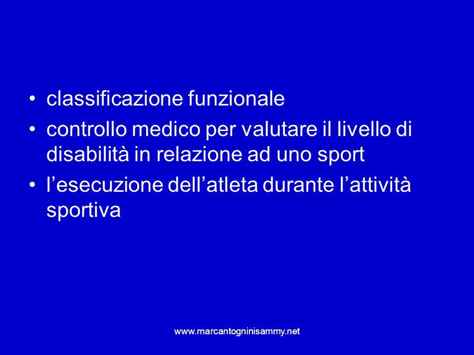 www.marcantogninisammy.net classificazione funzionale controllo medico per valutare il livello di disabilità in relazione ad uno sport lesecuzione del