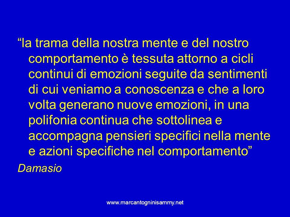 www.marcantogninisammy.net la trama della nostra mente e del nostro comportamento è tessuta attorno a cicli continui di emozioni seguite da sentimenti