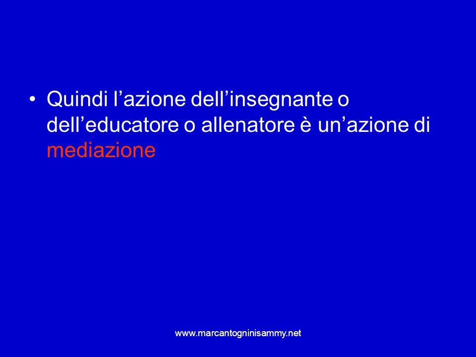 www.marcantogninisammy.net Quindi lazione dellinsegnante o delleducatore o allenatore è unazione di mediazione