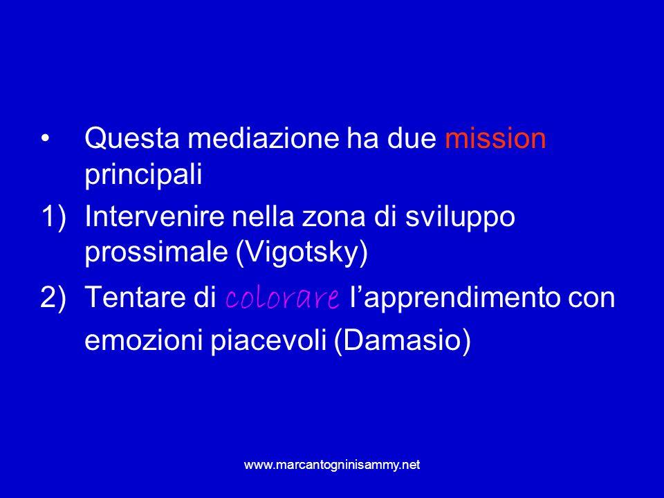 www.marcantogninisammy.net Questa mediazione ha due mission principali 1)Intervenire nella zona di sviluppo prossimale (Vigotsky) 2)Tentare di colorar