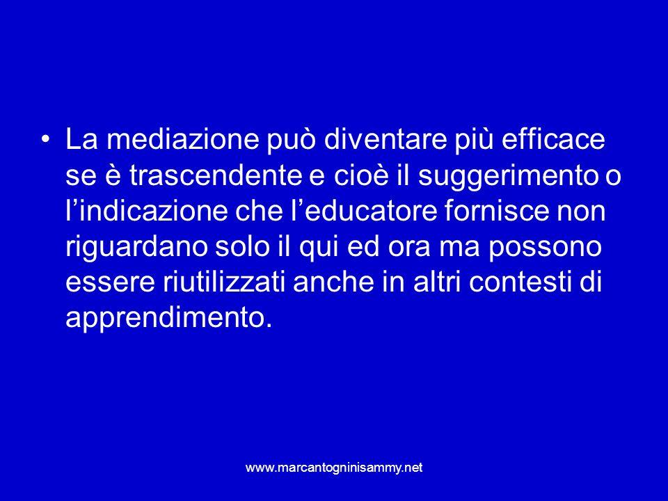 www.marcantogninisammy.net La mediazione può diventare più efficace se è trascendente e cioè il suggerimento o lindicazione che leducatore fornisce no