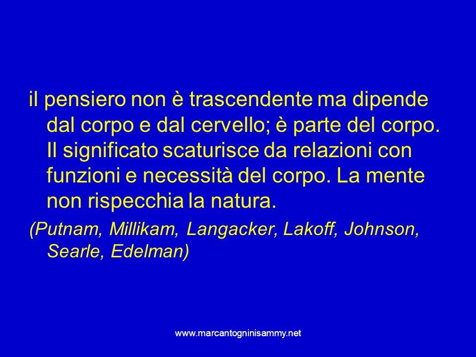 www.marcantogninisammy.net il pensiero non è trascendente ma dipende dal corpo e dal cervello; è parte del corpo. Il significato scaturisce da relazio