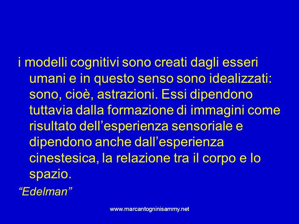 www.marcantogninisammy.net i modelli cognitivi sono creati dagli esseri umani e in questo senso sono idealizzati: sono, cioè, astrazioni. Essi dipendo