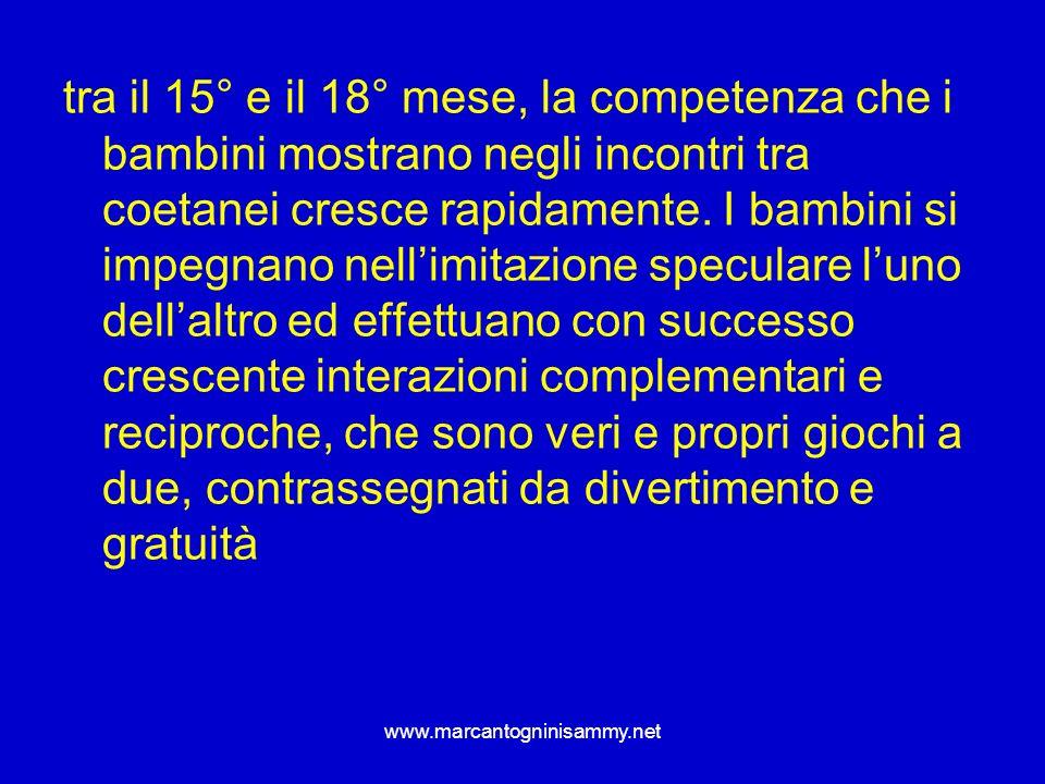 www.marcantogninisammy.net tra il 15° e il 18° mese, la competenza che i bambini mostrano negli incontri tra coetanei cresce rapidamente. I bambini si