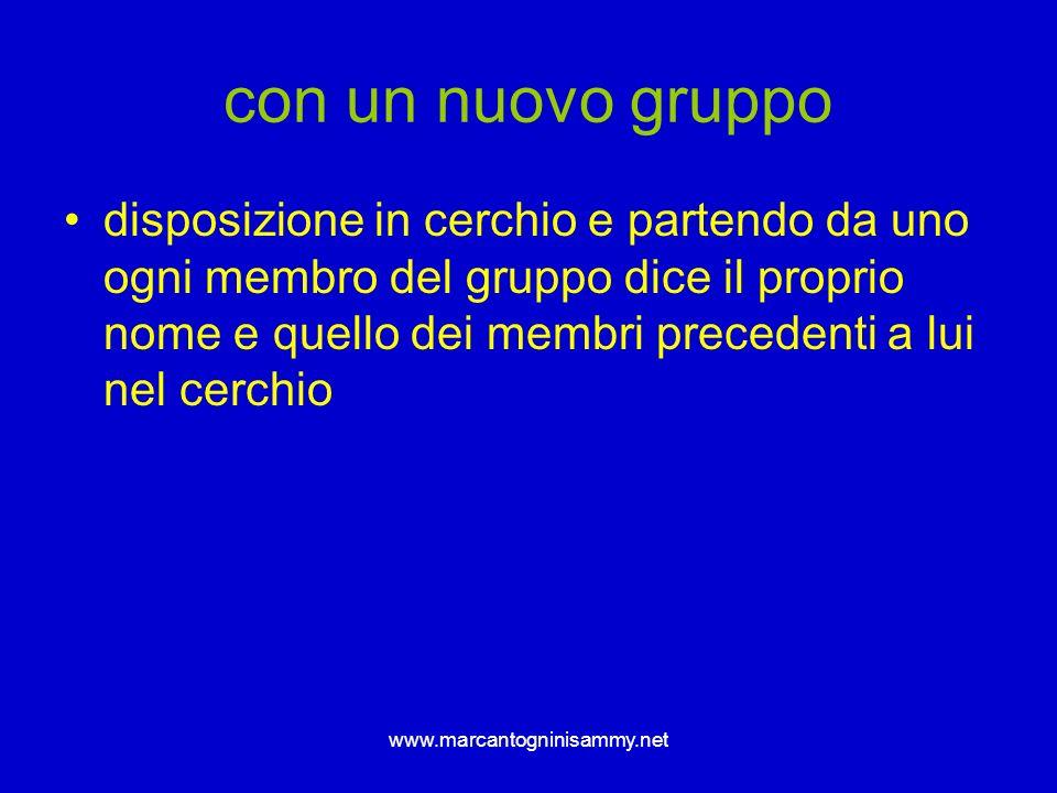 www.marcantogninisammy.net con un nuovo gruppo disposizione in cerchio e partendo da uno ogni membro del gruppo dice il proprio nome e quello dei memb