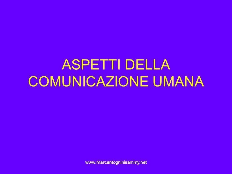 www.marcantogninisammy.net ASPETTI DELLA COMUNICAZIONE UMANA