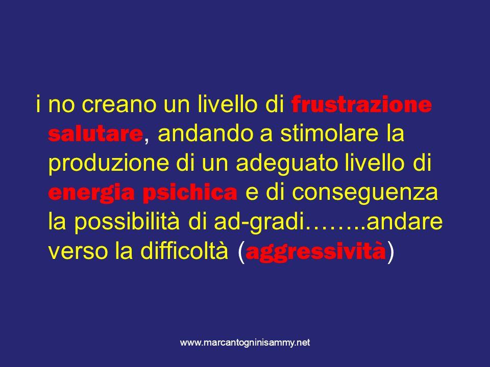 www.marcantogninisammy.net i no creano un livello di frustrazione salutare, andando a stimolare la produzione di un adeguato livello di energia psichi