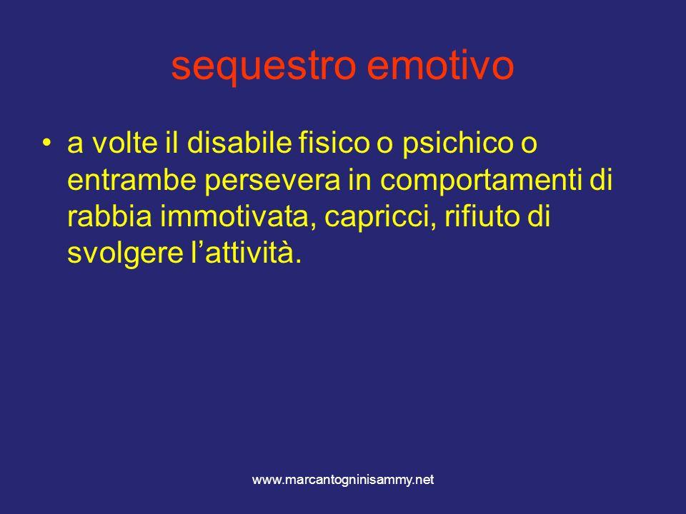 www.marcantogninisammy.net sequestro emotivo a volte il disabile fisico o psichico o entrambe persevera in comportamenti di rabbia immotivata, capricc