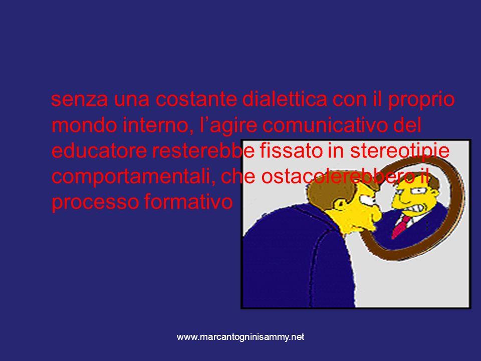www.marcantogninisammy.net senza una costante dialettica con il proprio mondo interno, lagire comunicativo del educatore resterebbe fissato in stereot