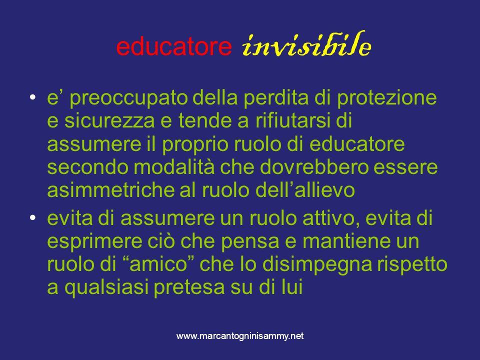 www.marcantogninisammy.net educatore invisibile e preoccupato della perdita di protezione e sicurezza e tende a rifiutarsi di assumere il proprio ruol