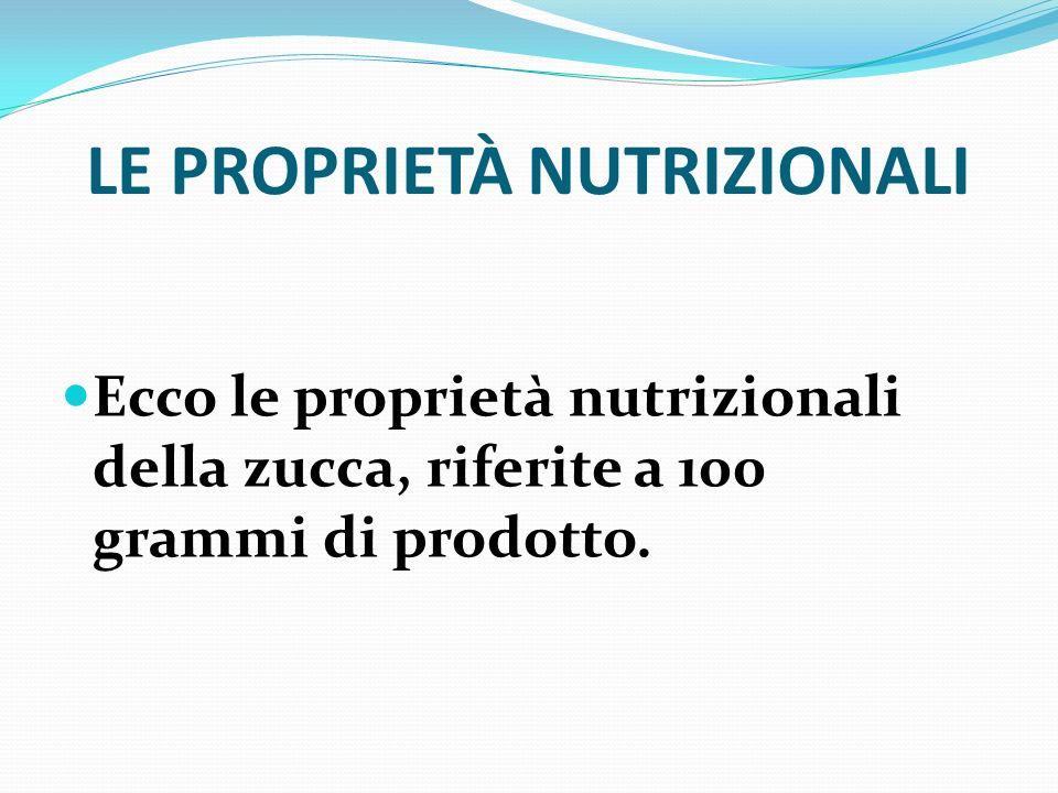 LE PROPRIETÀ NUTRIZIONALI Ecco le proprietà nutrizionali della zucca, riferite a 100 grammi di prodotto.