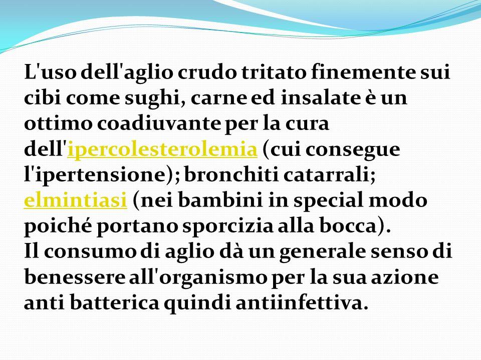 L'uso dell'aglio crudo tritato finemente sui cibi come sughi, carne ed insalate è un ottimo coadiuvante per la cura dell'ipercolesterolemia (cui conse