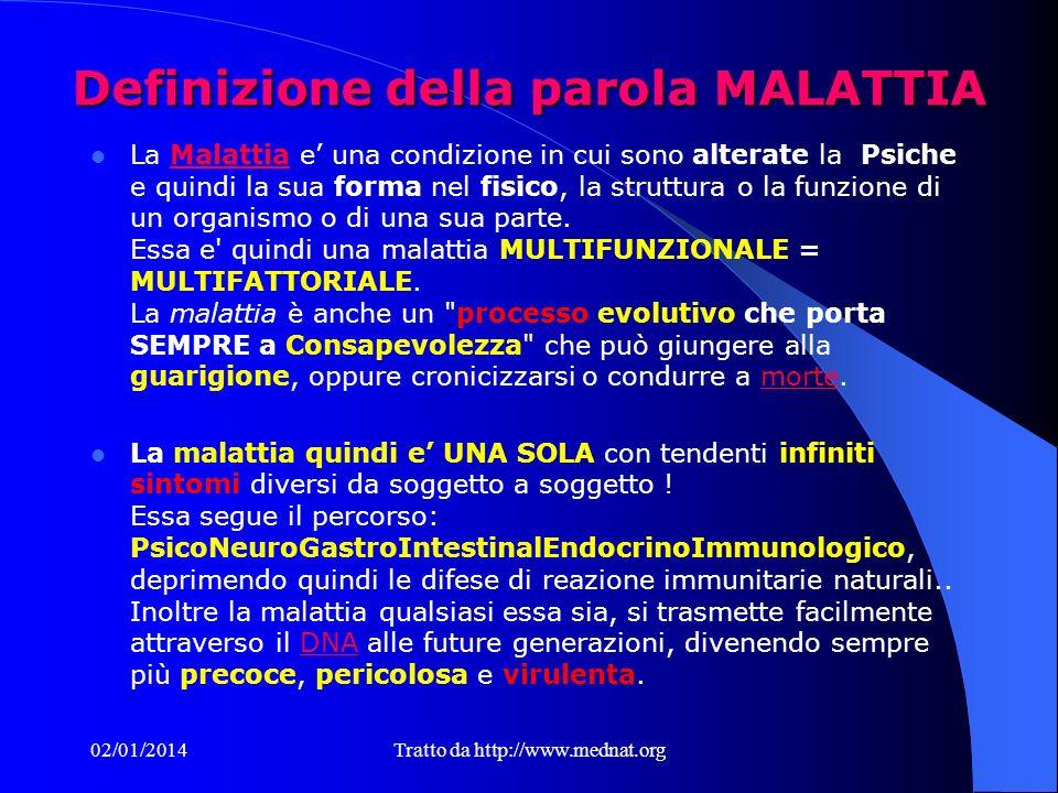 Definizione della parola MALATTIA La Malattia e una condizione in cui sono alterate la Psiche e quindi la sua forma nel fisico, la struttura o la funzione di un organismo o di una sua parte.