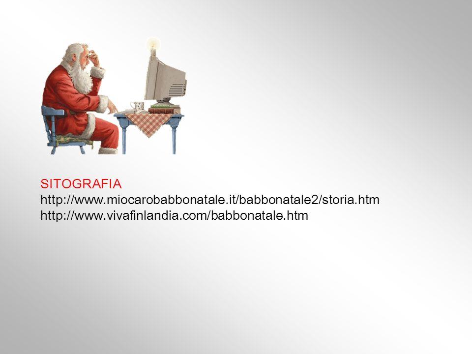 SITOGRAFIA http://www.miocarobabbonatale.it/babbonatale2/storia.htm http://www.vivafinlandia.com/babbonatale.htm