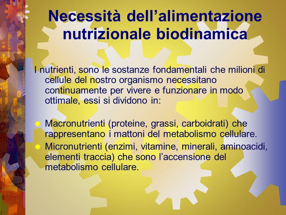 Necessità dellalimentazione nutrizionale biodinamica I nutrienti, sono le sostanze fondamentali che milioni di cellule del nostro organismo necessitan