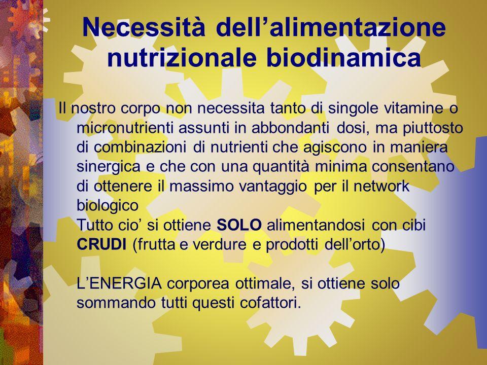 Necessità dellalimentazione nutrizionale biodinamica Il nostro corpo non necessita tanto di singole vitamine o micronutrienti assunti in abbondanti do
