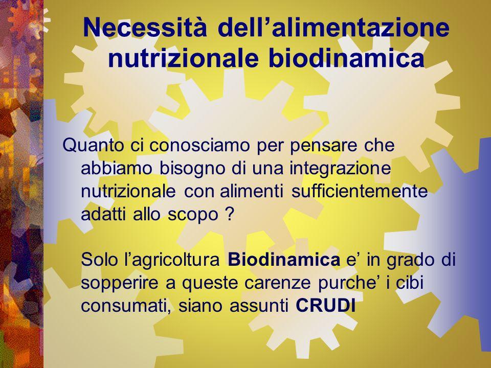 Necessità dellalimentazione nutrizionale biodinamica Quanto ci conosciamo per pensare che abbiamo bisogno di una integrazione nutrizionale con aliment