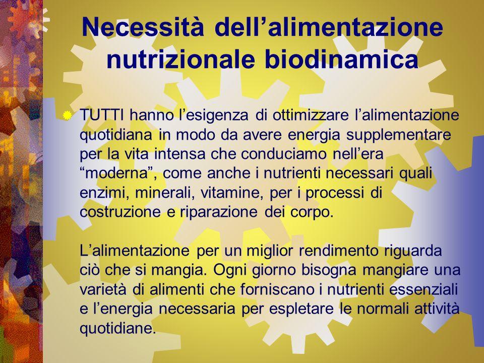 Necessità dellalimentazione nutrizionale biodinamica Purtroppo la tipica alimentazione occidentale comprende quantità eccessive di grassi saturi ed uneccessiva percentuale di zuccheri semplici.