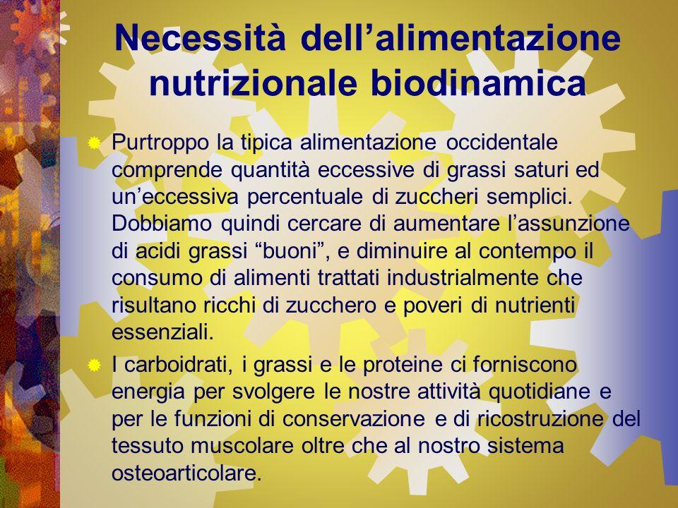 Necessità dellalimentazione nutrizionale biodinamica Purtroppo la tipica alimentazione occidentale comprende quantità eccessive di grassi saturi ed un