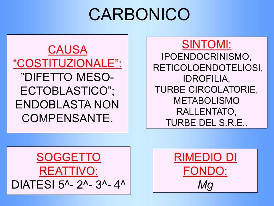 CARBONICO CAUSA COSTITUZIONALE: DIFETTO MESO- ECTOBLASTICO; ENDOBLASTA NON COMPENSANTE. SOGGETTO REATTIVO: DIATESI 5^- 2^- 3^- 4^ SINTOMI: IPOENDOCRIN