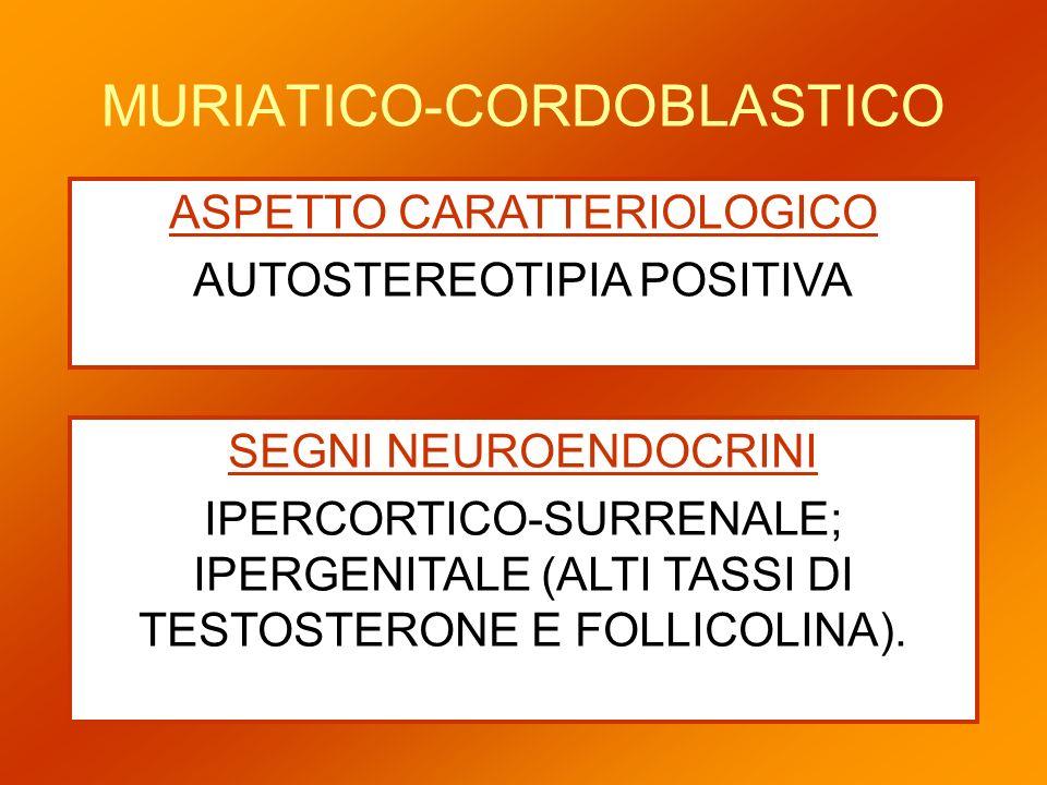 MURIATICO-CORDOBLASTICO ASPETTO CARATTERIOLOGICO AUTOSTEREOTIPIA POSITIVA SEGNI NEUROENDOCRINI IPERCORTICO-SURRENALE; IPERGENITALE (ALTI TASSI DI TEST