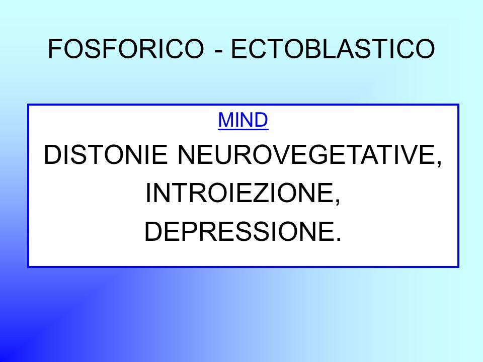 FOSFORICO - ECTOBLASTICO MIND DISTONIE NEUROVEGETATIVE, INTROIEZIONE, DEPRESSIONE.