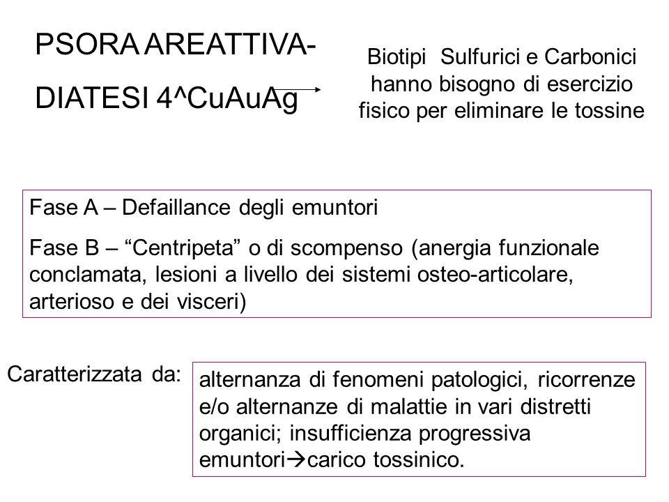 PSORA AREATTIVA- DIATESI 4^CuAuAg Biotipi Sulfurici e Carbonici hanno bisogno di esercizio fisico per eliminare le tossine Fase A – Defaillance degli