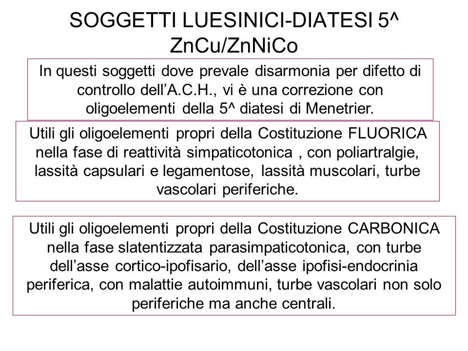 SOGGETTI LUESINICI-DIATESI 5^ ZnCu/ZnNiCo In questi soggetti dove prevale disarmonia per difetto di controllo dellA.C.H., vi è una correzione con olig