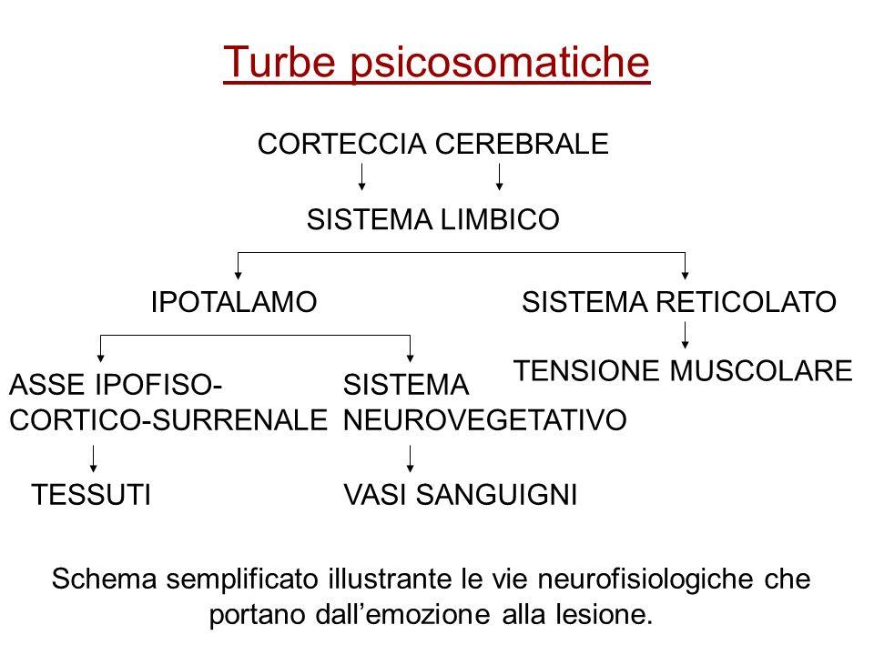 Turbe psicosomatiche Schema semplificato illustrante le vie neurofisiologiche che portano dallemozione alla lesione. CORTECCIA CEREBRALE SISTEMA LIMBI