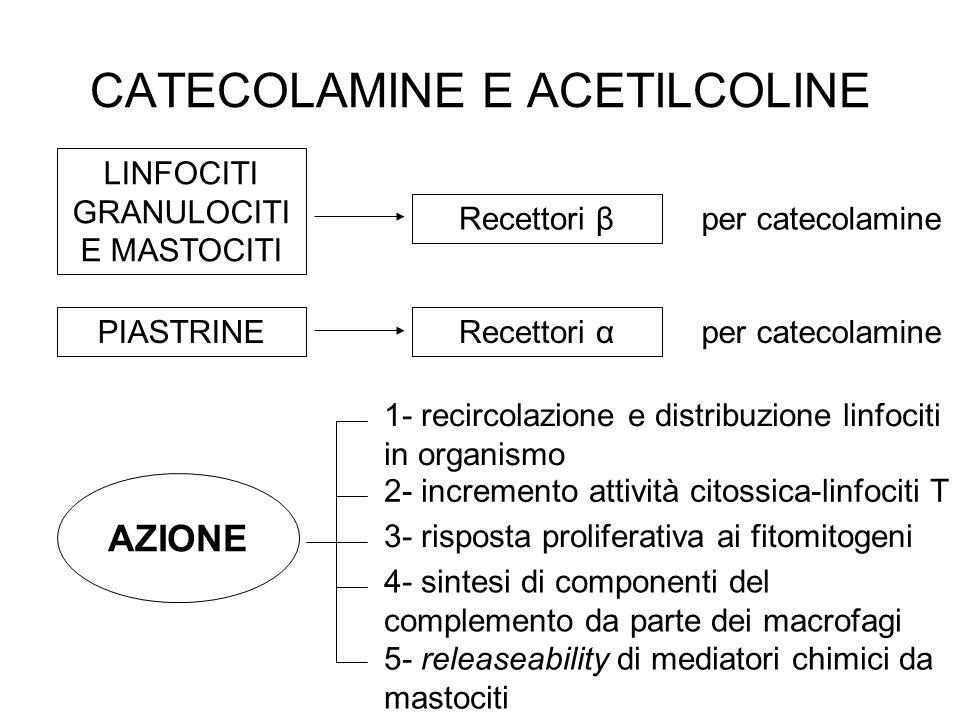 CATECOLAMINE E ACETILCOLINE LINFOCITI GRANULOCITI E MASTOCITI PIASTRINE 1- recircolazione e distribuzione linfociti in organismo 2- incremento attivit