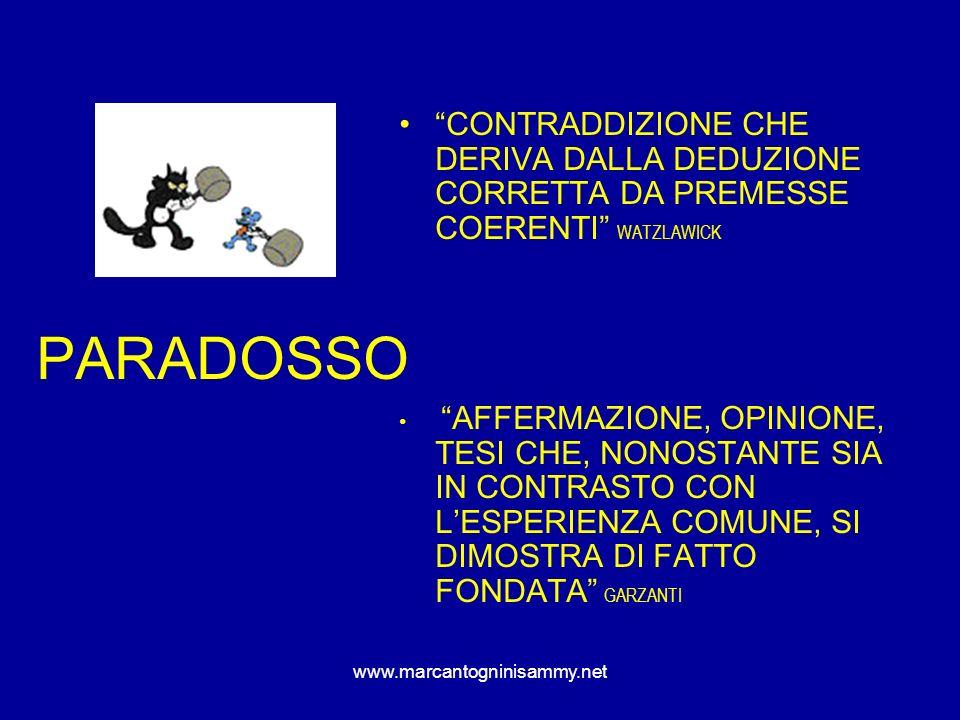 www.marcantogninisammy.net PARADOSSO CONTRADDIZIONE CHE DERIVA DALLA DEDUZIONE CORRETTA DA PREMESSE COERENTI WATZLAWICK AFFERMAZIONE, OPINIONE, TESI C