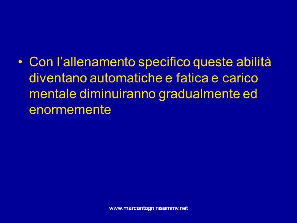 www.marcantogninisammy.net Con lallenamento specifico queste abilità diventano automatiche e fatica e carico mentale diminuiranno gradualmente ed enor