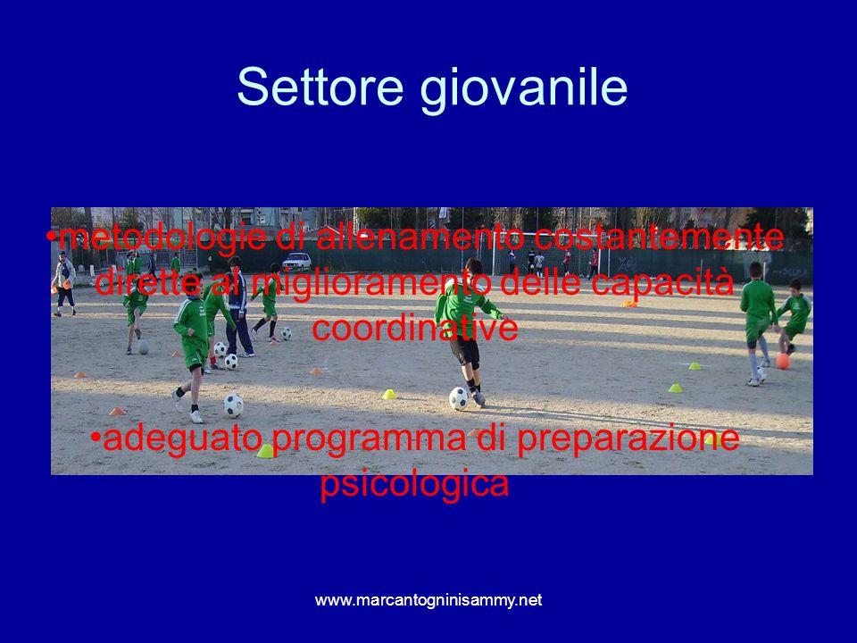 www.marcantogninisammy.net Settore giovanile metodologie di allenamento costantemente dirette al miglioramento delle capacità coordinative adeguato pr