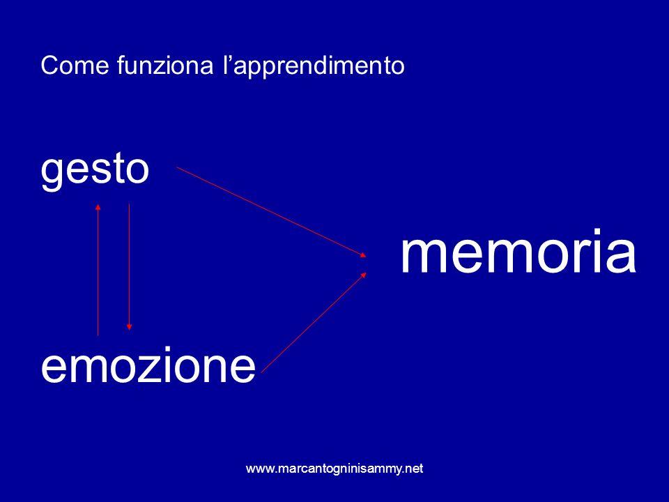 www.marcantogninisammy.net Come funziona lapprendimento gesto emozione memoria