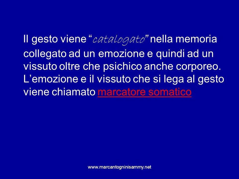 www.marcantogninisammy.net Il gesto viene catalogato nella memoria collegato ad un emozione e quindi ad un vissuto oltre che psichico anche corporeo.