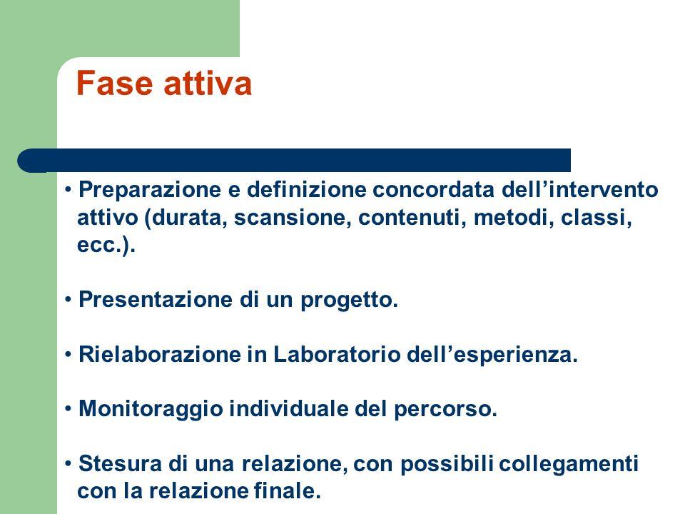 Fase attiva Preparazione e definizione concordata dellintervento attivo (durata, scansione, contenuti, metodi, classi, ecc.).