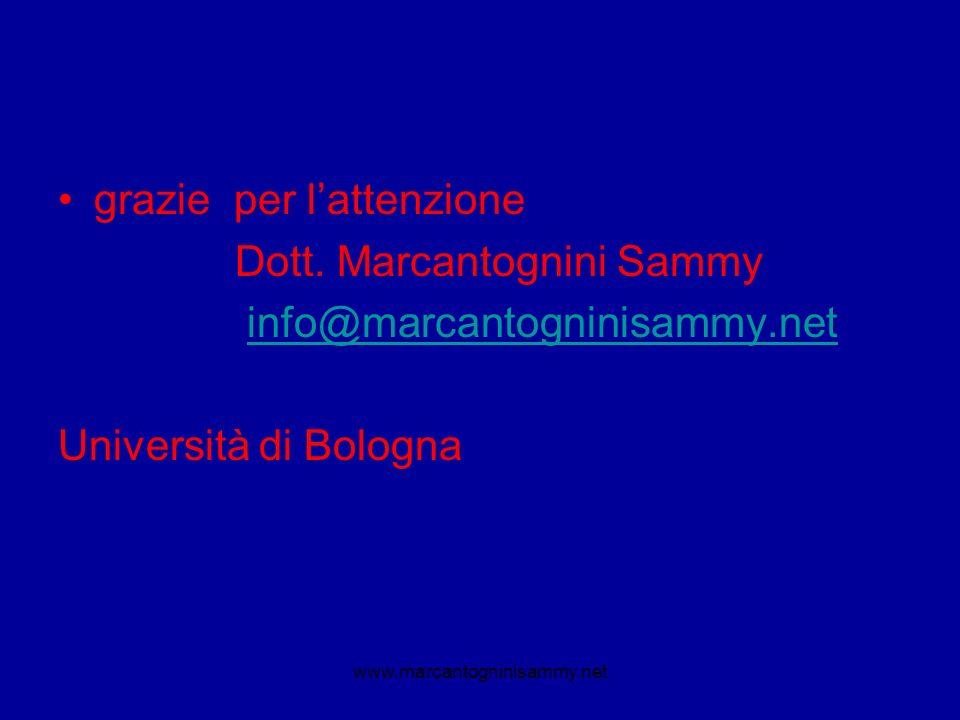 grazie per lattenzione Dott. Marcantognini Sammy info@marcantogninisammy.net Università di Bologna www.marcantogninisammy.net