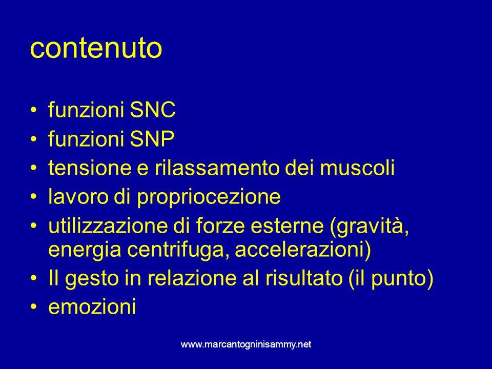 www.marcantogninisammy.net contenuto funzioni SNC funzioni SNP tensione e rilassamento dei muscoli lavoro di propriocezione utilizzazione di forze est