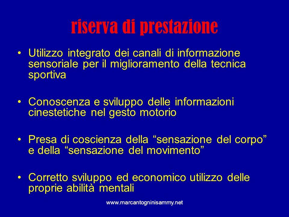 www.marcantogninisammy.net riserva di prestazione Utilizzo integrato dei canali di informazione sensoriale per il miglioramento della tecnica sportiva