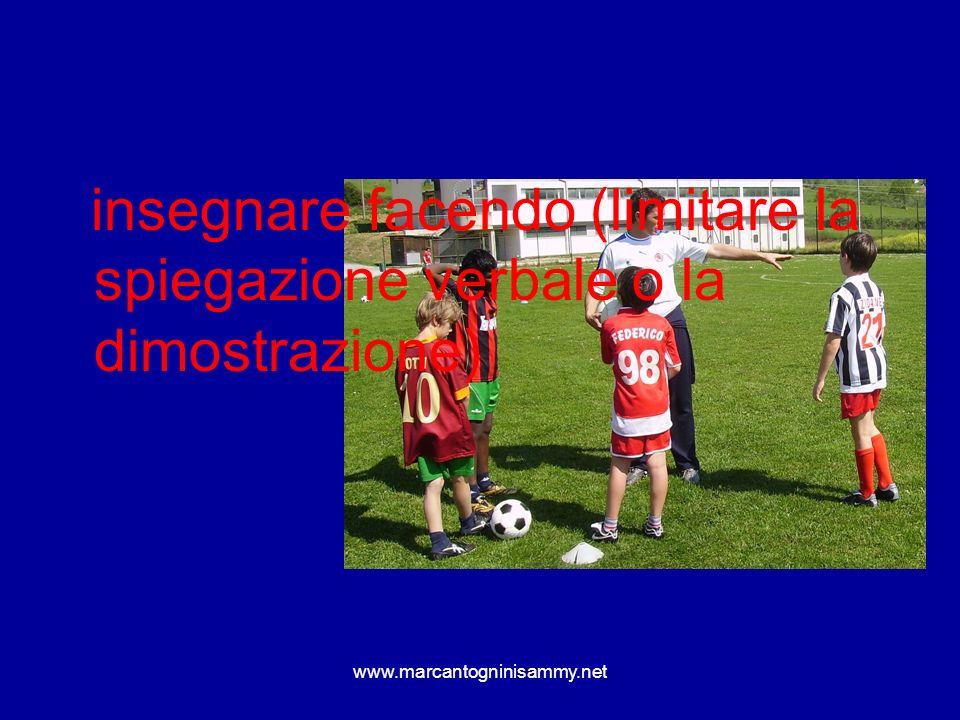 www.marcantogninisammy.net insegnare facendo (limitare la spiegazione verbale o la dimostrazione)