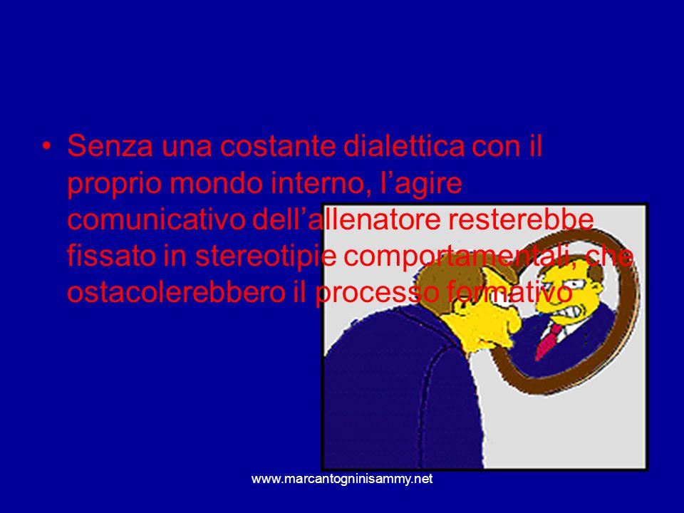 www.marcantogninisammy.net Senza una costante dialettica con il proprio mondo interno, lagire comunicativo dellallenatore resterebbe fissato in stereo