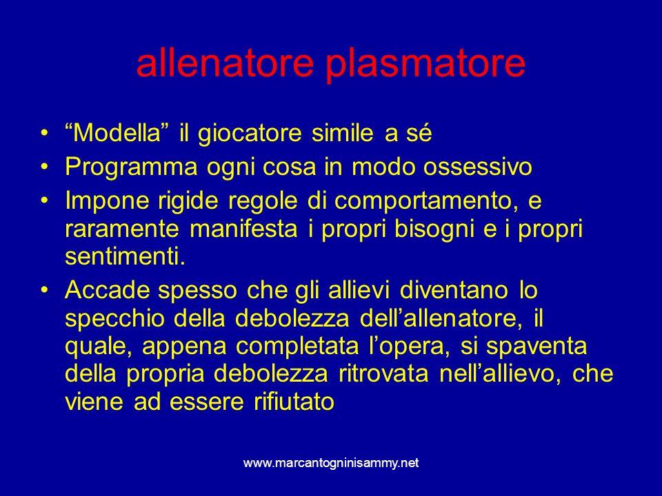 www.marcantogninisammy.net allenatore plasmatore Modella il giocatore simile a sé Programma ogni cosa in modo ossessivo Impone rigide regole di compor
