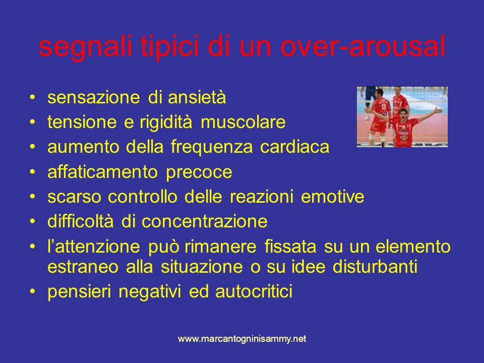 www.marcantogninisammy.net segnali tipici di un over-arousal sensazione di ansietà tensione e rigidità muscolare aumento della frequenza cardiaca affa
