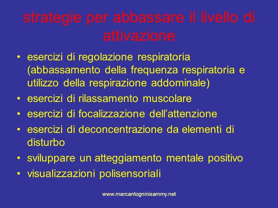 www.marcantogninisammy.net strategie per abbassare il livello di attivazione esercizi di regolazione respiratoria (abbassamento della frequenza respir