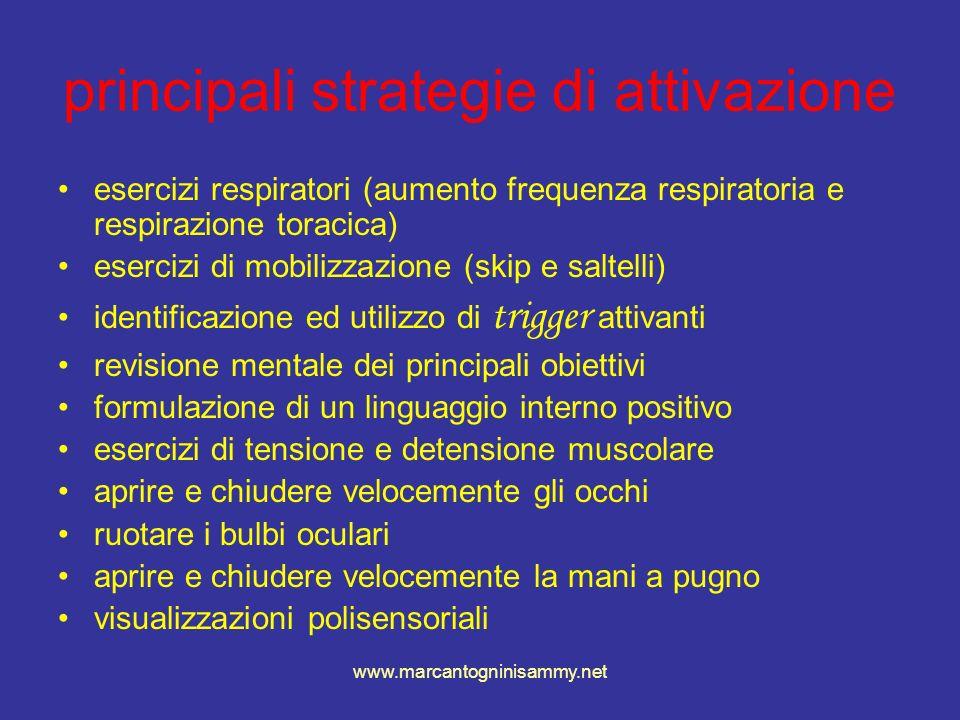 www.marcantogninisammy.net principali strategie di attivazione esercizi respiratori (aumento frequenza respiratoria e respirazione toracica) esercizi