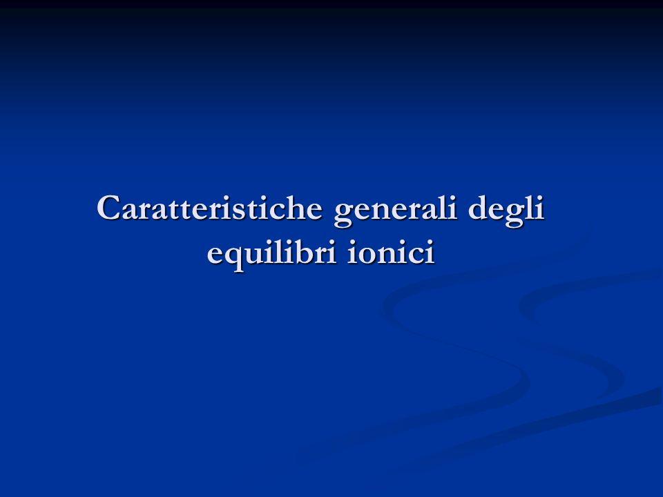 Caratteristiche generali degli equilibri ionici