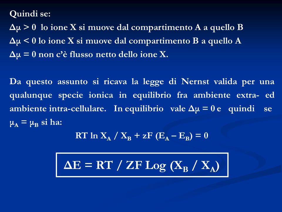 Quindi se: Δμ > 0 lo ione X si muove dal compartimento A a quello B Δμ < 0 lo ione X si muove dal compartimento B a quello A Δμ = 0 non cè flusso nett
