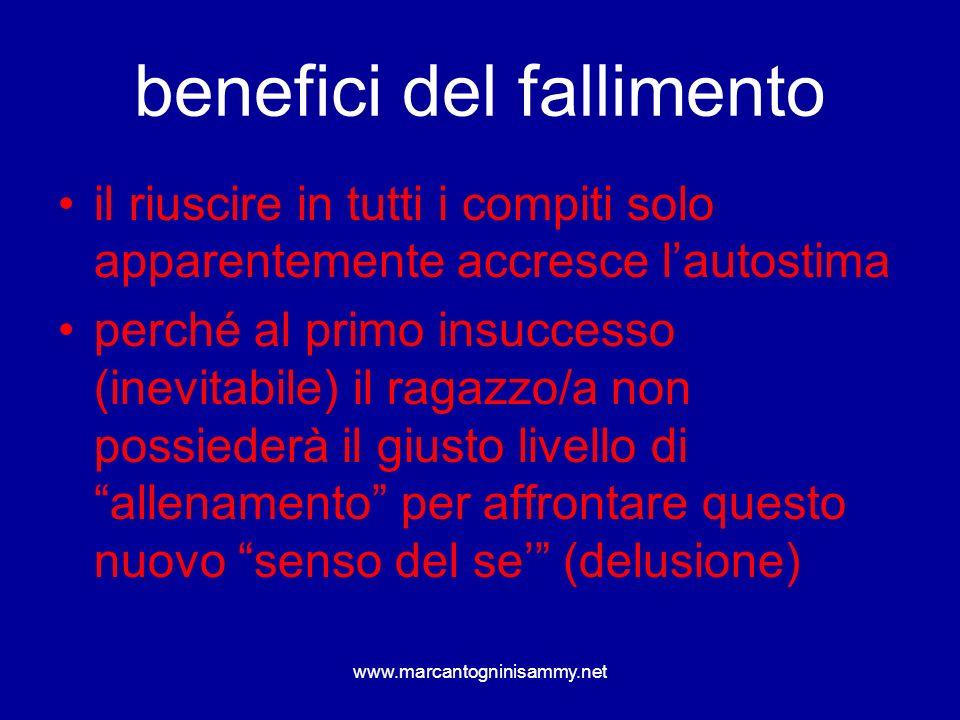 www.marcantogninisammy.net benefici del fallimento il riuscire in tutti i compiti solo apparentemente accresce lautostima perché al primo insuccesso (