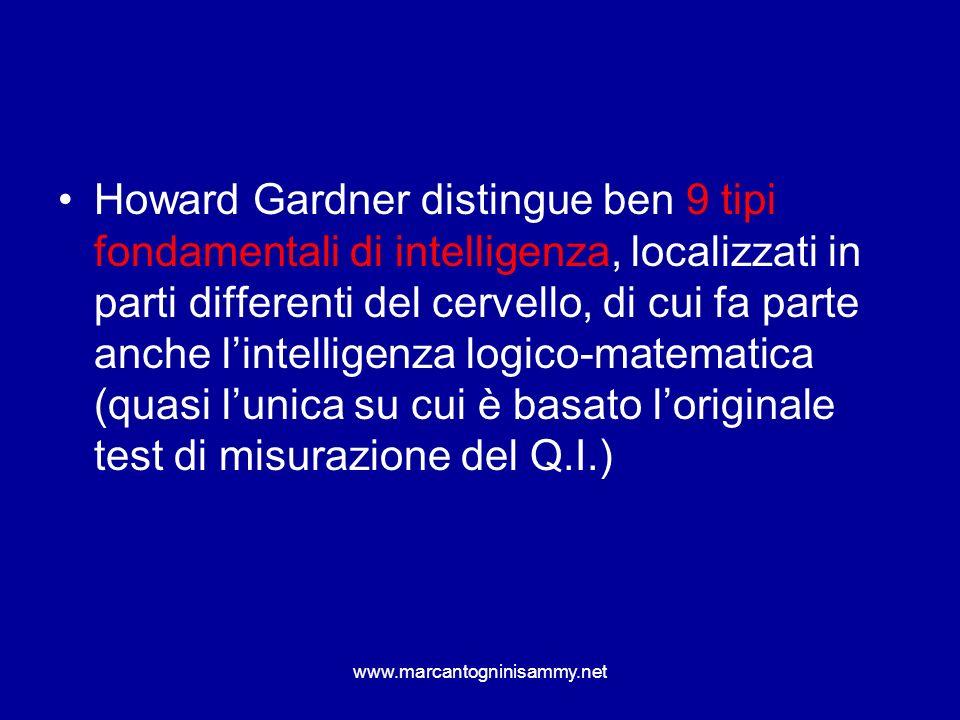 Howard Gardner distingue ben 9 tipi fondamentali di intelligenza, localizzati in parti differenti del cervello, di cui fa parte anche lintelligenza lo
